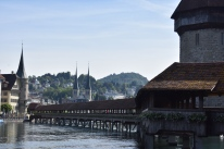 View of the covered footbridge (Lucerne, Switzerland)
