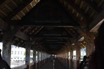 Inside the covered footbridge (Lucerne, Switzerland)
